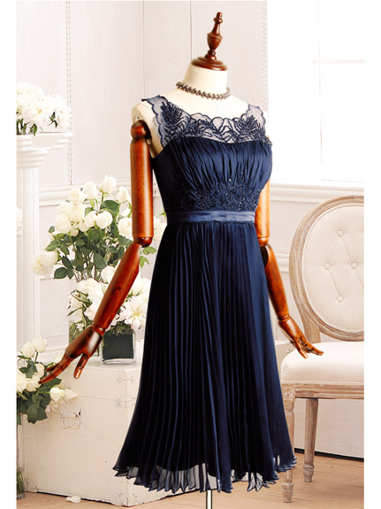 >>RUIRUE BOUTIQUE (ルイ・ルエ・ブティック)プリーツシフォンワンピースドレス